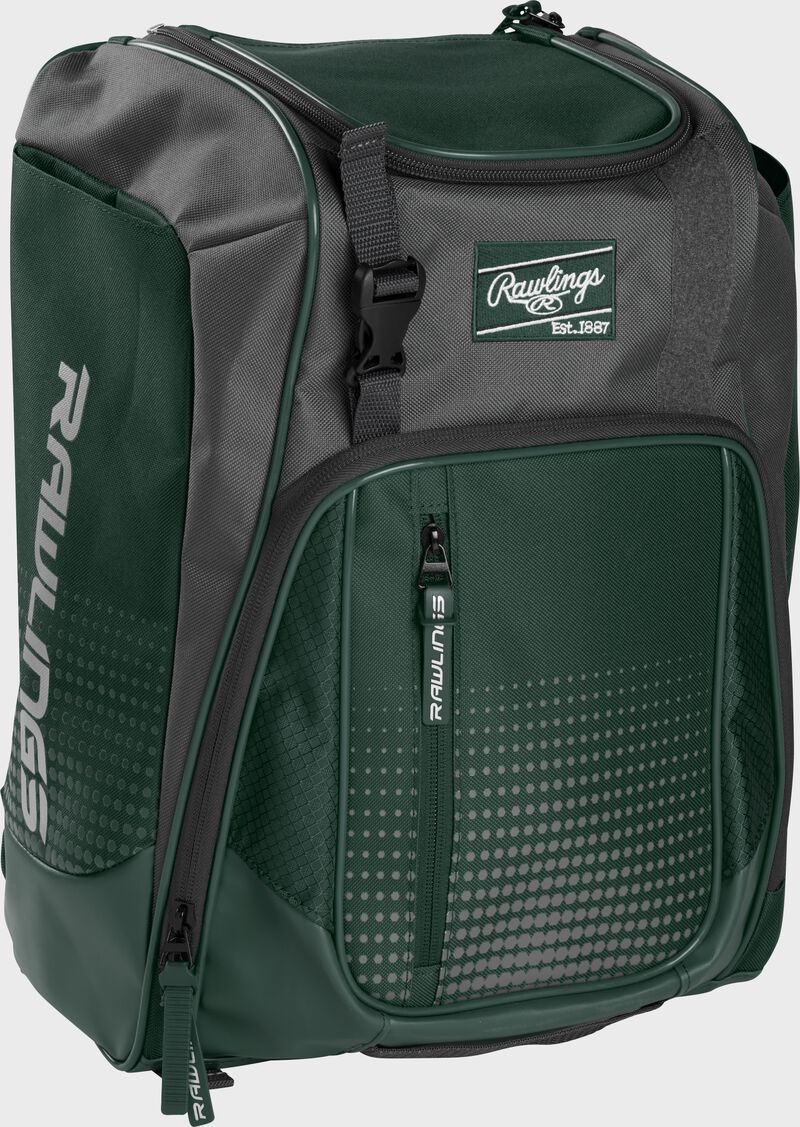 Front left angle of a dark green Rawlings Franchise bag with gray accents - SKU: FRANBP-DG