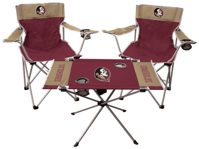 Front of Rawlings Garnet and Gold NCAA Florida State Seminoles 3-Piece Tailgate Kit With Two Kickoff Chairs, An Endzone Table, And A Transport Bag With Team Logo SKU #00993020511