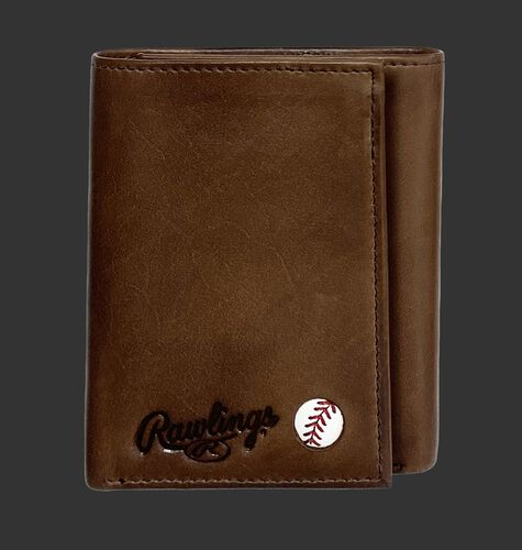 A brown Play Ball tri-fold wallet with the Rawlings logo and ball emblem in the bottom right corner - SKU: MW479-200