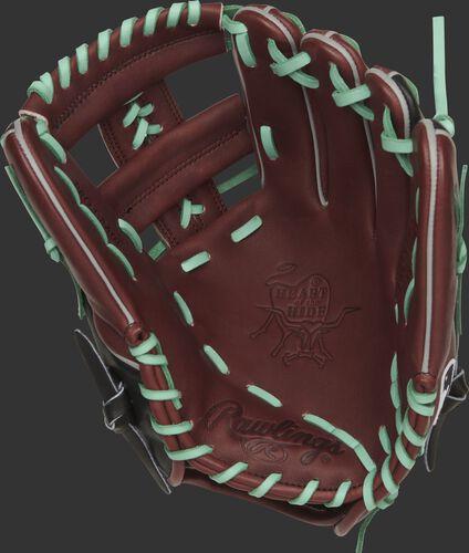 Sherry palm of a Rawlings Arizona D-backs HOH glove with mint laces - SKU: RSGPRONP4-19ARI