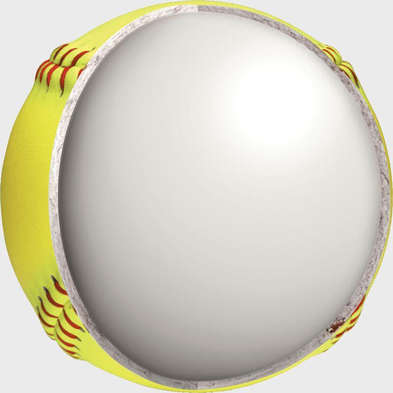 """Inside center of a USA RIF Official 11"""" softball - SKU: SR11RYSA"""