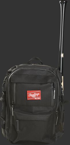 A black CEO coach's backpack with a bat in the side sleeve on one side - SKU: CEOBP-B