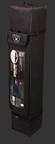 Black carry case of a 9x9 Las Vegas Raiders canopy with a team logo on the side compartment - SKU: 03231072112