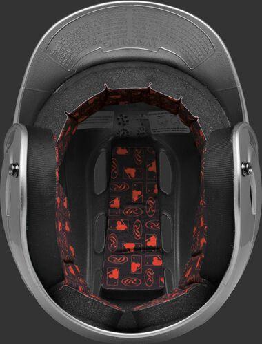 Inside padding of a silver R16S senior size Velo batting helmet