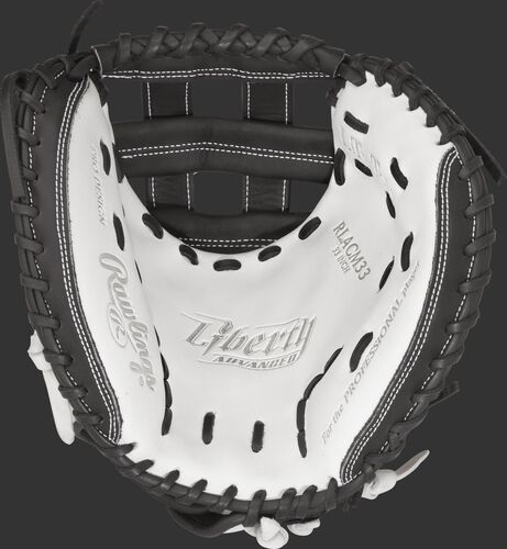 Thumb view of a RLACM33 Rawlings 33-inch softball catcher's mitt with a white palm and black laces