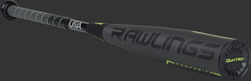 3/4 angle view of a US9Q10 Rawlings USA Quatro Pro bat with a grey/black barrel and grey/black grip