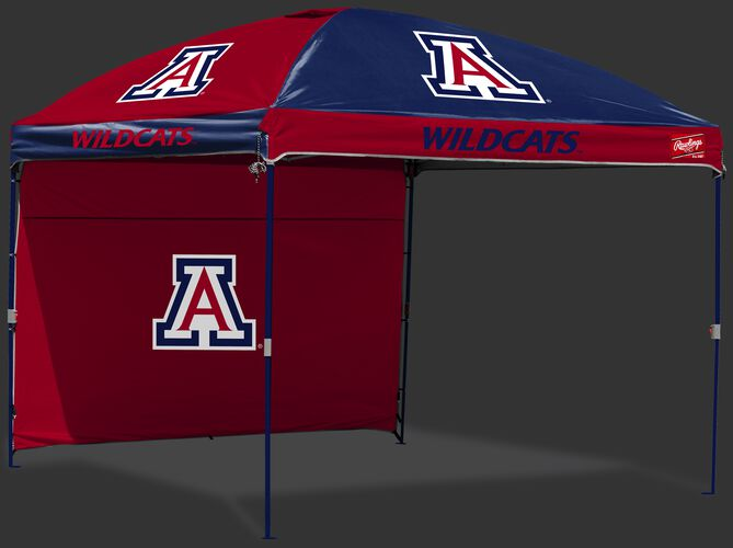 A red/blue Arizona Wildcats 10x10 deluxe dome canopy with team logos and a red, removable back wall - SKU: 09463068519