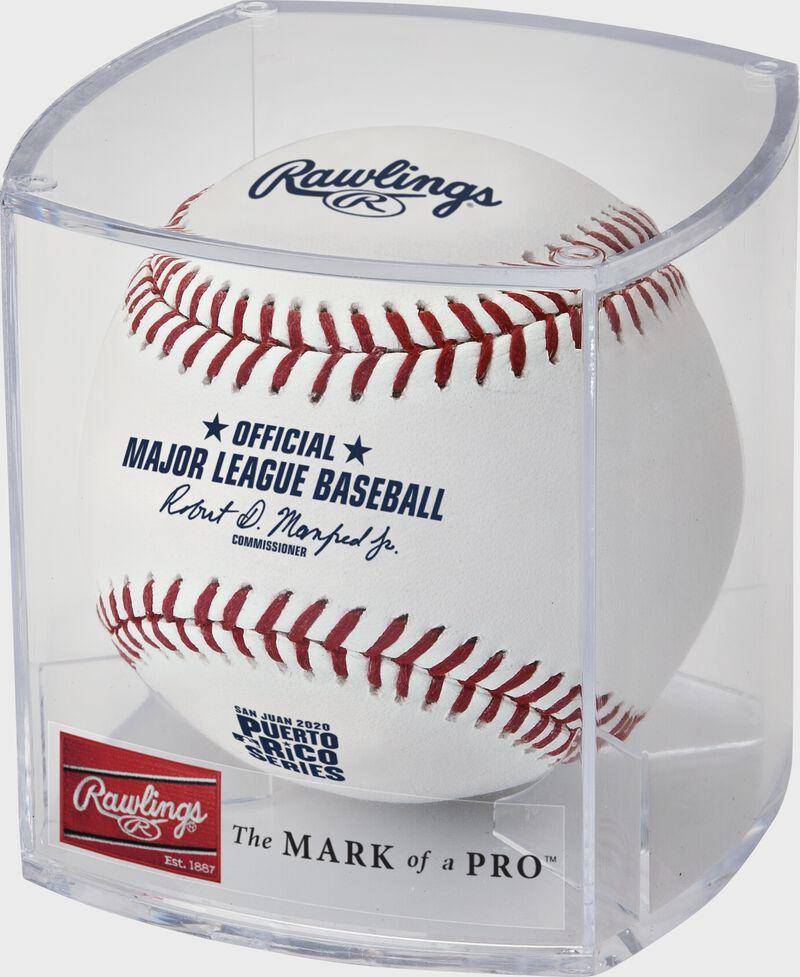 A 2020 Puerto Rico Series MLB baseball in a clear display cube - SKU: ROMLBPRS20