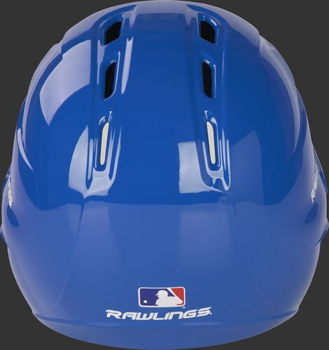 Back of a gloss royal R1601 Velo batting helmet with the Official MLB logo sticker