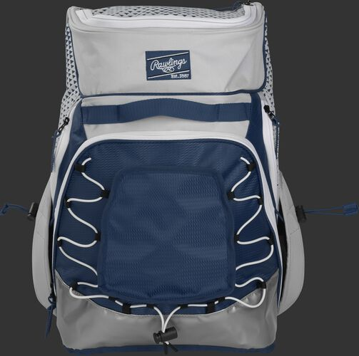 Front of a white/navy R800 Rawlings softball backpack with a navy patch and beaver tail external pocket