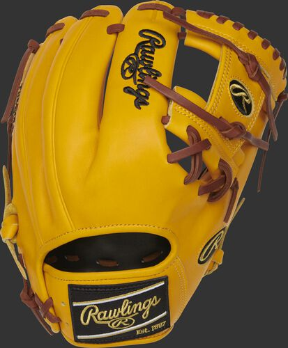 PROFL12-2GT 11.5-inch Rawlings Heart of the Hide I-web glove with a gold tan back and black Rawlings patch