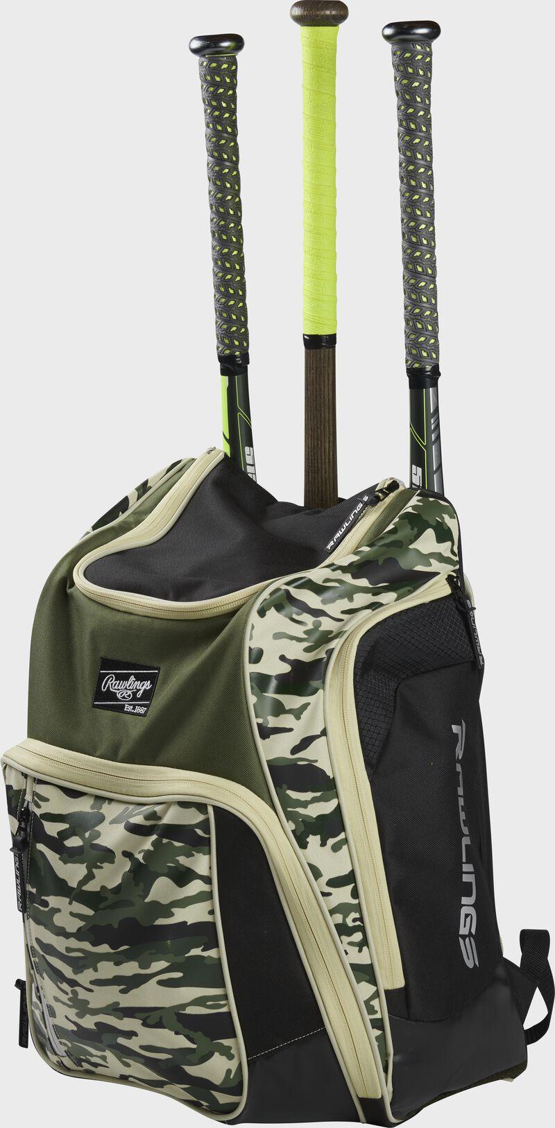 Angle view of a camo Legion baseball bat backpack with 3 bats in the back - SKU: LEGION-CAMO