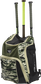 Angle view of a camo Legion baseball bat backpack with 3 bats in the back - SKU: LEGION-CAMO image number null