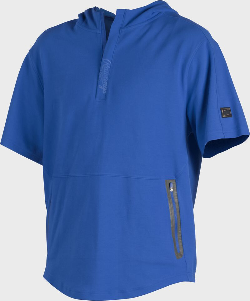 A royal Gold Collection short sleeve hoodie with a 1/4 zip and gray welded zipper pockets - SKU: GCJJ-R