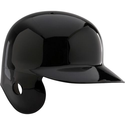 A black MPBHSR Adult single flap batting helmet for left-handed batters
