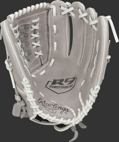 Gray palm of a Rawlings 2021 R9 Series softball glove with a gray web and white laces - SKU: R9SB125-18G