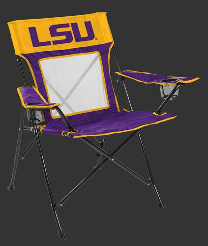 Front of Rawlings Yellow and Purple NCAA LSU Tigers Game Changer Chair With Team Logo SKU #00643035111