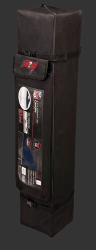 Black carry case of a 9x9 Tampa Bay Buccaneers canopy with a team logo on the side compartment - SKU: 03231086112