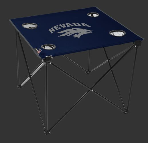 A navy NCAA Nevada Wolf Pack deluxe tailgate table with four cup holders and team logo printed in the middle SKU #00713155111