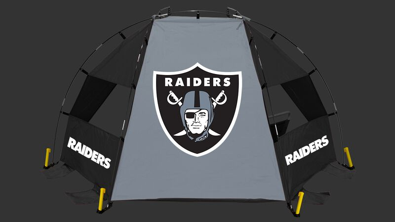 Back of a Las Vegas Raiders sideline sun shelter with the Raiders logo in the middle - SKU: 00961065111