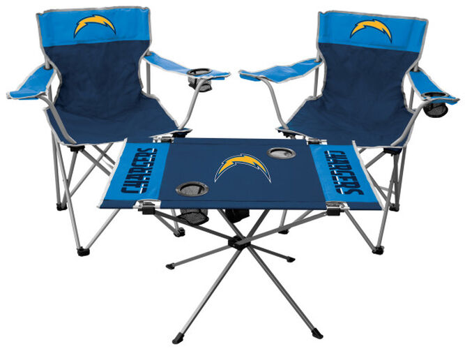Front of Rawlings Navy and Powder Blue NFL Los Angeles Chargers 3-Piece Tailgate Kit With Two Kickoff Chairs, An Endzone Table, And A Transport Bag With Team Logo SKU #01041083511