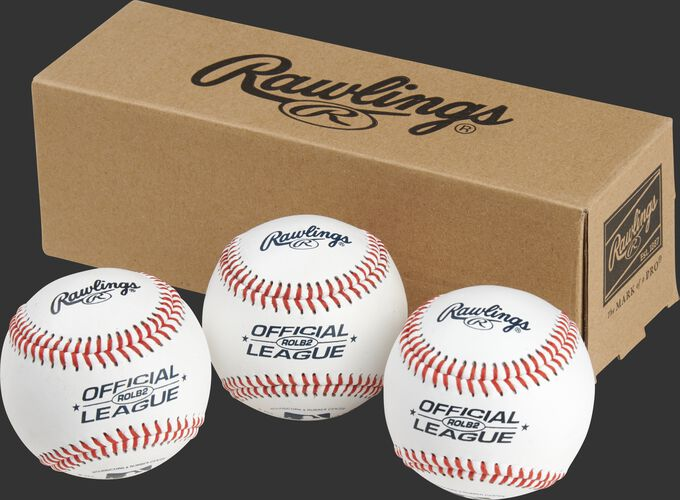 3 Rawlings Official League baseballs in front of a box - SKU: RSGROLB2PK3