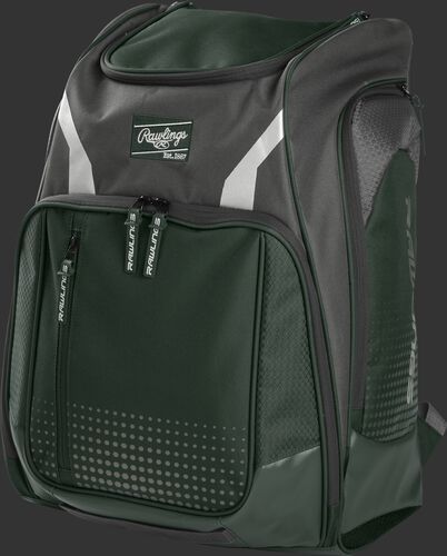 Front angle view of a dark green Legion equipment backpack - LEGION-DG
