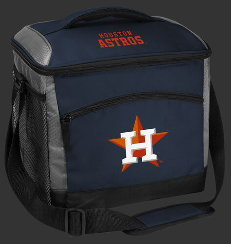 A navy Houston Astros 24 can soft sided cooler with screen printed logos - SKU: 10200002111