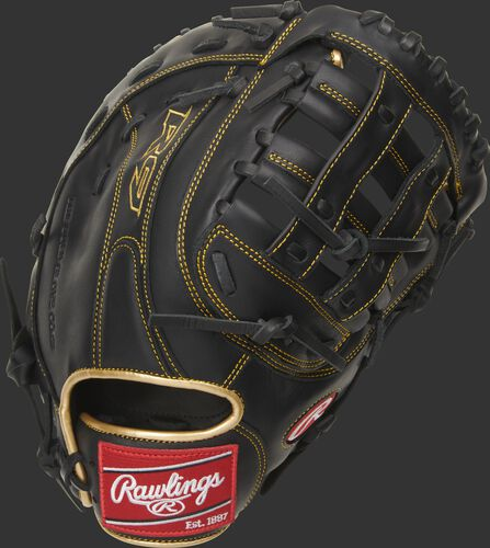 Back of a black R9 series H-web first base mitt with gold binding and red Rawlings patch - SKU: R9FM18BG