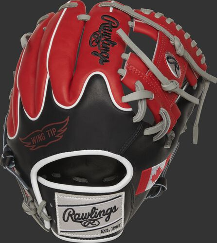 Back of a PRO204W-2CA 11.5-Inch Canadian Heart of the Hide glove with scarlet fingers and black wing-tip back
