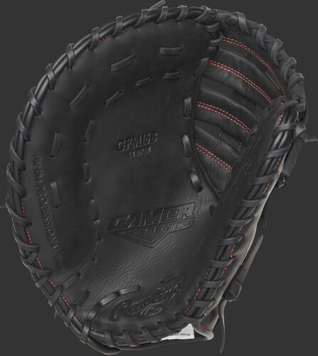 A blemished Gamer 12-inch first base mitt with a black palm and black laces