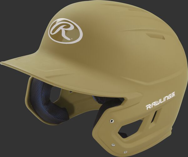 Left angle view of a Rawlings MACH helmet with a one-tone matte Vegas gold shell