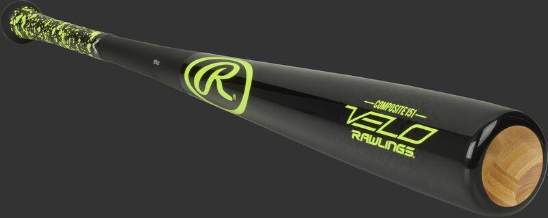 3/4 view of a black Y151CV Velo senior league composite wood bat