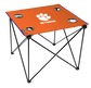 An orange NCAA Clemson Tigers deluxe tailgate table with four cup holders and a team logo printed in the middle