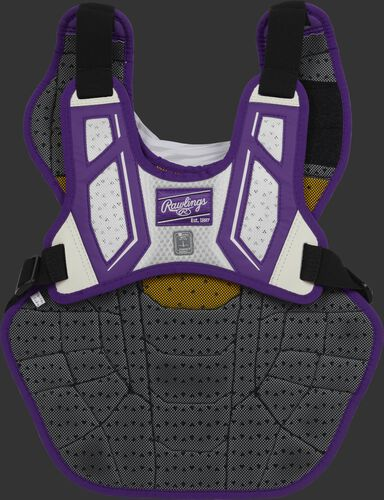 Back harness of a purple/white CPV2N adult Velo 2.0 chest protector with Dynamic Fit System 2.0