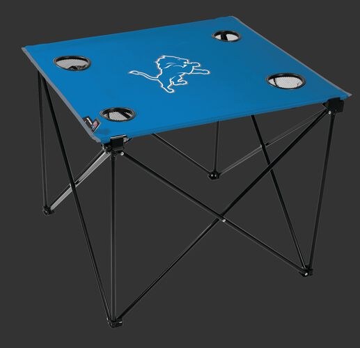 Rawlings Blue NFL Detroit Lions Deluxe Tailgate Table With Four Cup Holders and Team Logo Printed In The Middle SKU #00701067111