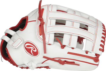 Thumb view of a white RLA130-6W Liberty Advanced 13-inch fastpitch outfield glove with a white H web