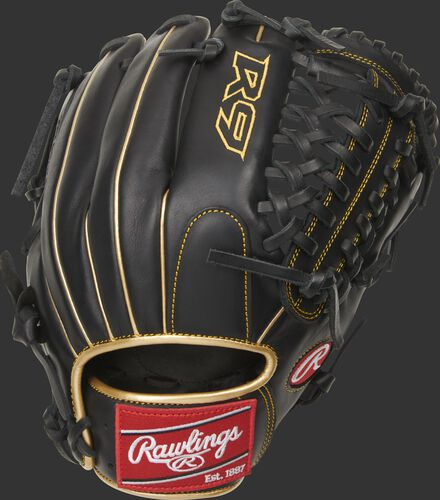 Black back of a R9 Series Modified Trap-Eze web glove with a red Rawlings patch - SKU: R9205-4BG