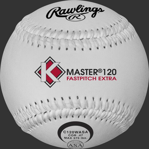 A white C120WASA K-Master official 12-inch softball with white stitching