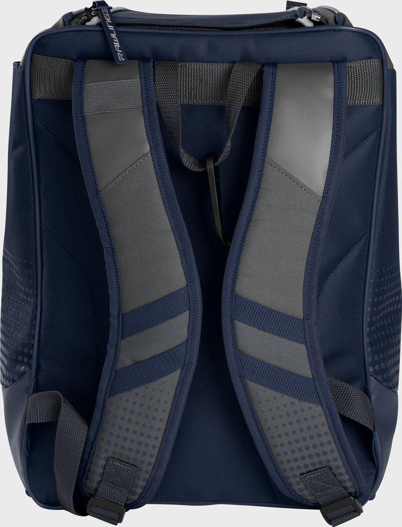 Back of a navy Rawlings Franchise backpack with gray shoulder straps - SKU: FRANBP-N