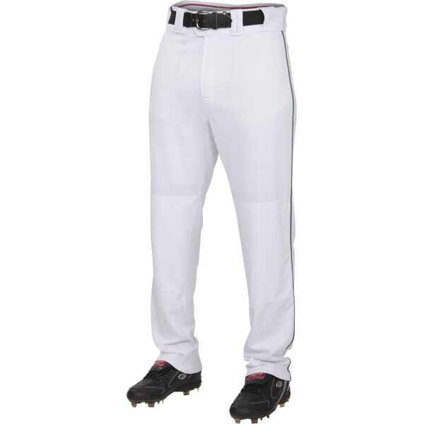 Adult Semi-Relaxed Piped Pant White/Dark Green