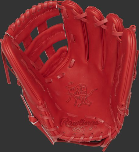 """PROKB17-6S Rawlings Pro Label """"Fire"""" glove with a scarlet palm, web and laces"""