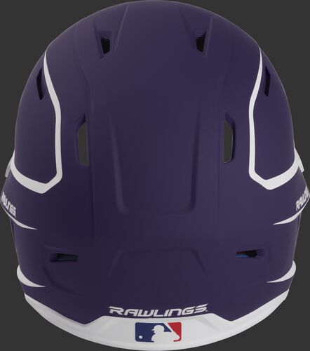 Back of a purple/white MACH high performance senior helmet with the Official Batting Helmet of MLB logo