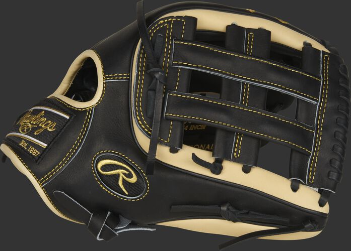 Thumb of black/camel 2021 Heart of the Hide R2G outfield glove with a black H-web - SKU: PROR3319-6BC