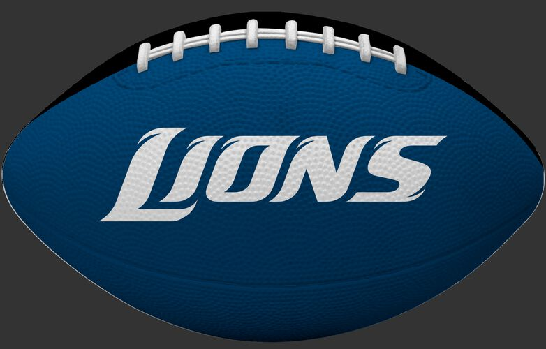 Blue side of a Detroit Lions rubber Gridiron football with team name SKU #09501067121