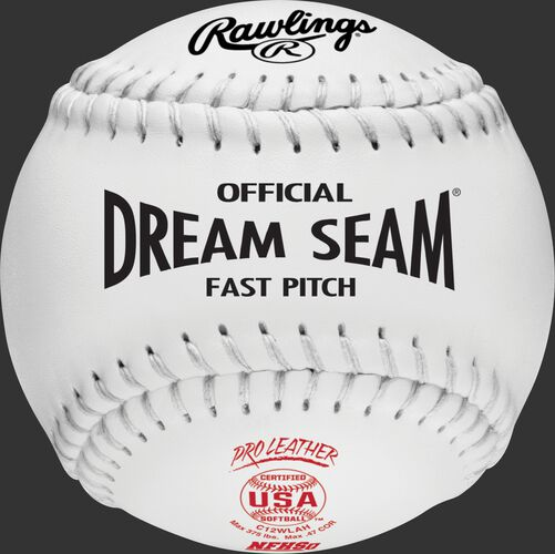 A white C12WLAH USA NFHS official Dream Seam softball with white stitching