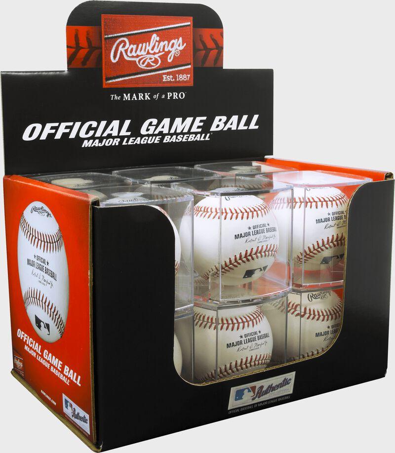 A box of a dozen MLB baseball in display cubes - SKU: ROMLB-R