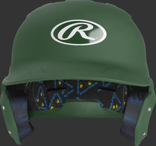 MCH07A Mach batting helmet with a matte dark green shell and Oval R logo on the front