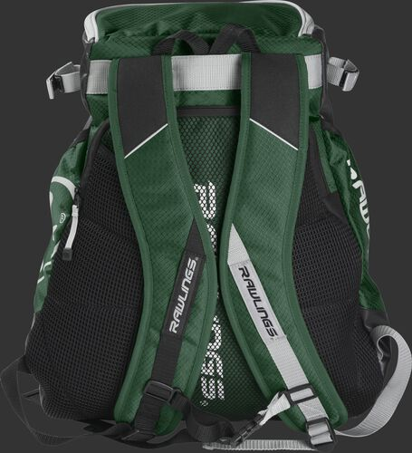 Back of a dark green VELOBK Rawlings Velo backpack with dark green shoulder straps