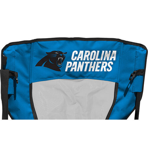 Back of Rawlings Blue and Black NFL Carolina Panthers High Back Chair With Team Name SKU #09211090518